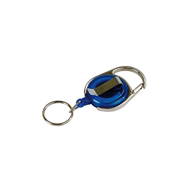 SKI RING skipass tag with clip and carabiner,  blue/silver