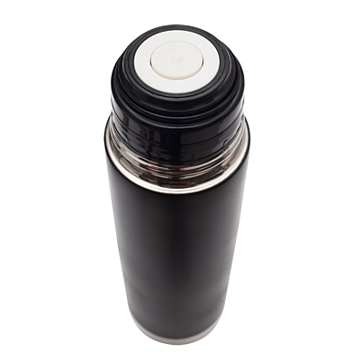 PICNIC MATE thermos flask set 480 ml and 2 thermo cups 180 ml,  black/silver