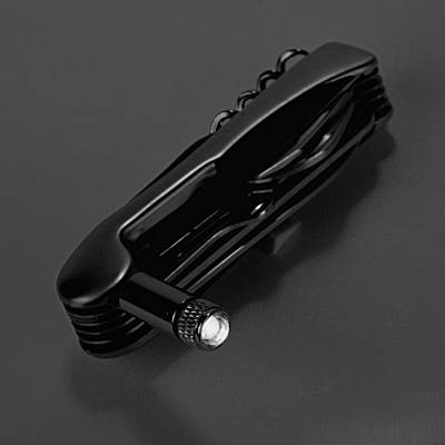 TRIER Pocket Knife 12 Functions with LED Flashlight,  silver