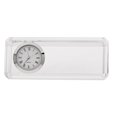 CRISTALINO CLOCK paperweight with table clock,  transparent