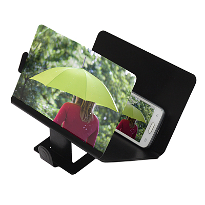 ENLARGE magnifying glass on mobile phone screen,  black