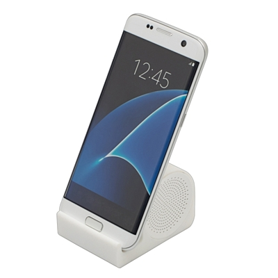 CLEARSOUND speaker with cell phone holder,  white