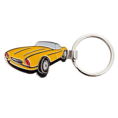 SPORTS CAR metal key ring,  yellow