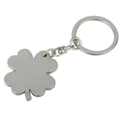 CLOVER metal key ring,  silver