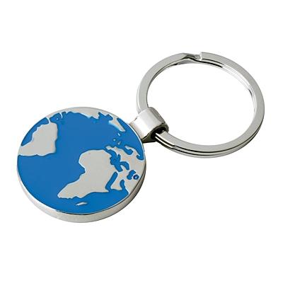 GLOBE RING kovový přívěsek na klíče,  stříbrná/modrá