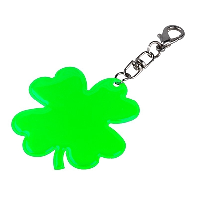 LUCKY CLOVER reflective key ring,  green