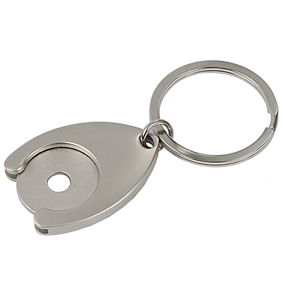 DISC metal key ring with token,  silver