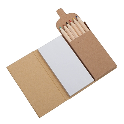 CRAYON NOTE set of crayons with note pads,  beige
