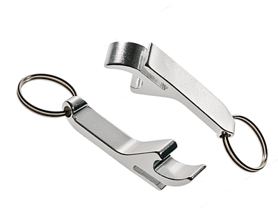 ALUMINIUM key ring with opener,  silver