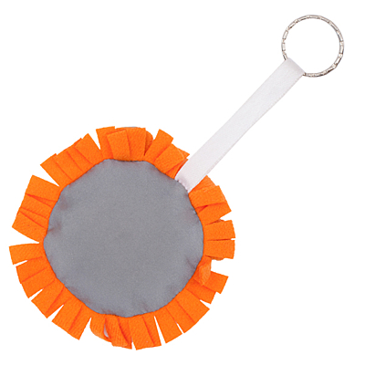 LION RING reflective key ring,  orange/silver