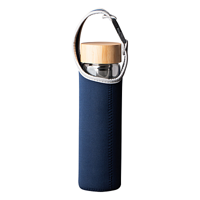 GOURMET 600 ml glass bottle with tea infuser, 600 ml, dark blue