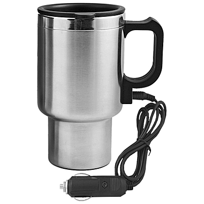 AUTO STEEL MUG thermo mug 450 ml with car charging,  silver/black