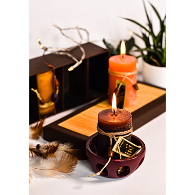 SCENTED CANDLE set of perfumed candles,  brown