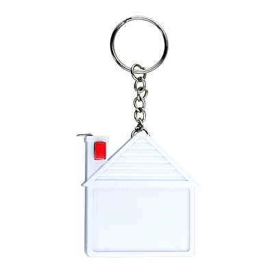 HOUSE key ring with tape measure 2 m,  white
