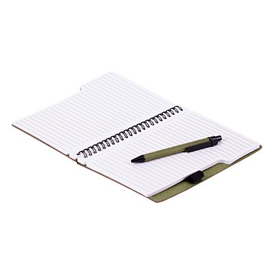 TELDE eco notebook with lined pages and pen