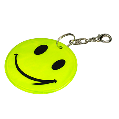 HAPPY KEY reflective key ring,  yellow