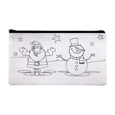 XMAS TIME pencil case with crayons, white