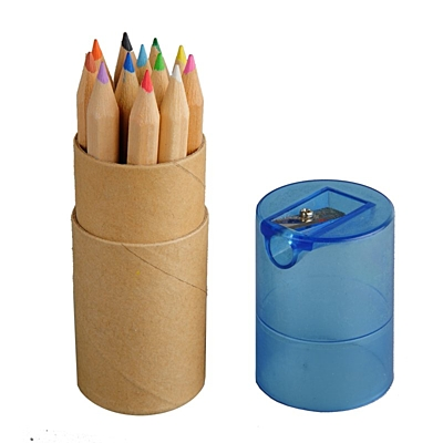CRAYON SHARP set of colored pencils and sharpener,  blue