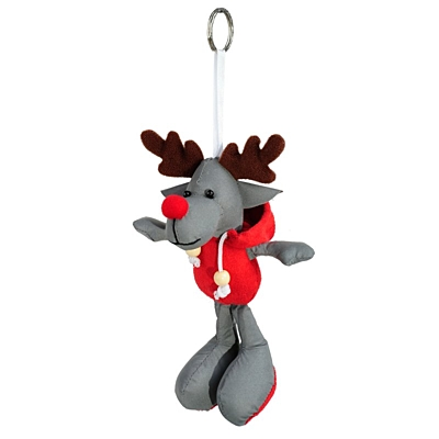 REINDEER reflective key ring,  grey/red