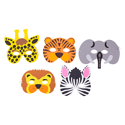 ANIMALS set of party masks, mix