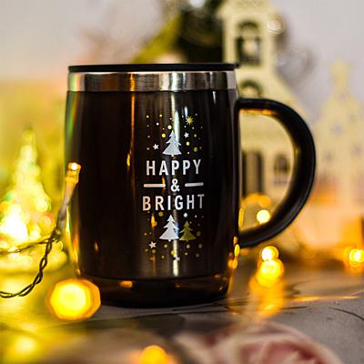 BARREL 400 ml insulated mug with Xmas motif, graphite