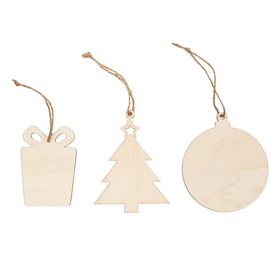XMAS WOOD decoration set in a bag, maroon