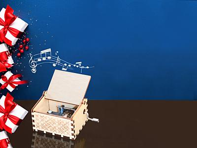 Christmas Magic music box, beige
